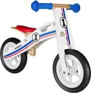 BIKESTAR Kinderlaufrad Lauflernrad Kinderrad für Jungen und Mädchen ab 2-3 Jahre | 10 Zoll Kinder Laufrad Holz | Weiß Blau Rot