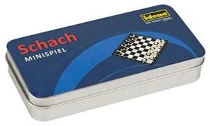 Idena 40110 Mini Spiel Schach in praktischer Metallbox zur Aufbewahrung und für den Transport, Spielfeld und 32 Schachfiguren, Spielfläche ca. 13 x 13 cm, bunt