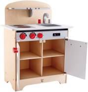 Weiße Gourmet-Küche, Spielküche aus Holz, Kinderküche für Küchen-Rollenspiel, aus Holz, ab 3 Jahren, weiß