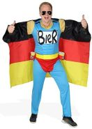 Das Deutschland Fussball Fan Kostüm - Biermann Comic Helden Kostüm für richtige Fans - Größe S-XXL - WM 2022 EM 2020 Fanartikel Party Flagge Germany Größe XL