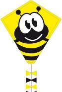 Ecoline 102104 - Eddy Bumble Bee 50cm Kinderdrachen Einleiner, ab 5 Jahren, 50x45cm und 2.5m Drachenschwanz, inkl. 10kp Polyesterschnur 25m auf Griff, 2-5 Beaufort
