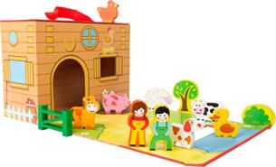 Small Foot 11111 Spielkoffer Bauernhof Robuster Pappe Und Bunten