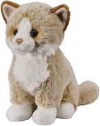 Bauer Spielwaren 'Deine Tiere mit Herz' Katze: Sitzendes Kuscheltier aus Softem Plüsch, zum Spielen und Verschenken, Softer Plüsch, 25 cm, beige (12508)