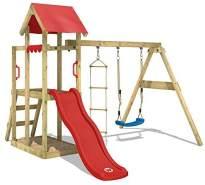 WICKEY Spielturm Klettergerüst TinyPlace mit Schaukel & roter Rutsche, Kletterturm mit Sandkasten, Leiter & Spiel-Zubehör