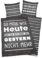 Herding Young Collection Bettwäsche-Set, Wendemotiv mit Spruch, Bettbezug 135 x 200 cm, Kopfkissenbe