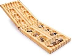 """small foot 2844 Kalaha """"Natur"""" in einer hochwertigen Bambus-Box mit 48 Natursteinen"""