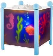 Trousselier - Meer - Nachtlicht - Magische Laterne - Ideales Geburtsgeschenk - Farbe Holz blau - animierte Bilder - beruhigendes Licht - 12V 10W Glühbirne inklusive - EU Stecker