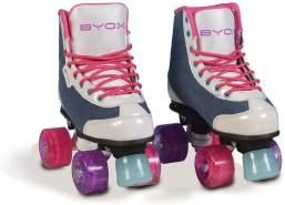 Byox Rollschuhe Denim, Glitzerräder, ABEC-5, bis 60 kg, PU-Räder, Gr. 32-33