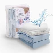ALCUBE 4er Set aus 2x wasserdichter Matratzenauflage und 2x Baumwoll-Spannbettlaken, blau, 120x60 cm