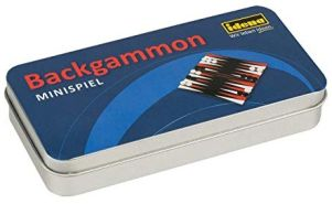 Idena 40108 Mini Spiel Backgammon in praktischer Metallbox zur Aufbewahrung und für den Transport, Spielfeld, 32 Spielsteine und 3 Würfel, Spielfläche ca. 13 x 12,5 cm, bunt