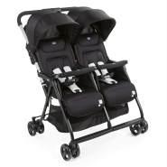 Chicco Zwilligsbuggy OHLALA' TWIN, ultra-leichtre und ultra-kompakter Geschwisterkinderbuggy für Babys und Kleinkinder ab Geburt inkl. Regenschutz, schwarz