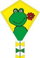 Ecoline 102108 - Eddy Happy Froggy 50cm Kinderdrachen Einleiner, ab 5 Jahren, 50x45cm und 2.5m Drachenschwanz, inkl. 10kp Polyesterschnur 25m auf Griff, 2-5 Beaufort