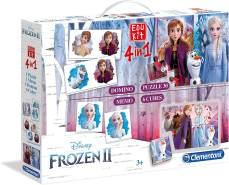Clementoni 18059 Edukit 4 in 1-Disney Frozen II (Die Eiskönigin), Memory-Puzzle-Domino-Würfelpuzzle, für Kinder ab 3 Jahren, Mehrfarben