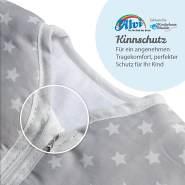 Alvi Kugelschlafsack Thermo | Baby-Schlafsack ärmellos | Winterschlafsack wattiert | Alvi Außensack 2,5 TOG | Schlafsack ÖKO-TEX zertifiziert, Größe:100, Design:kleiner Stern grau