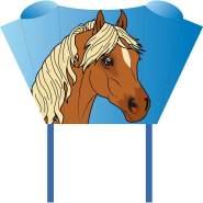 HQ100080 -Sleddy Pony Kinderdrachen Einleiner, ab 5 Jahren, 50x76cm und 1.9m Drachenschwanz, inkl. 17kp Polyesterschnur 40m auf Spule, 2-6 Beaufort