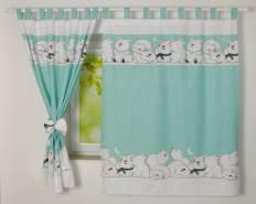 BabyLux 'Eisbär' Vorhänge mit Schlaufen, grün