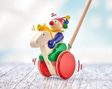 Selecta 62029 Trotto, Schiebefigur, Schiebe-und Nachziehspielzeug aus Holz, 17 cm