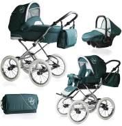 Bebebi Loving | 3 in 1 Kombi Kinderwagen Komplettset | Nostalgie Kinderwagen | Farbe: Green Tender