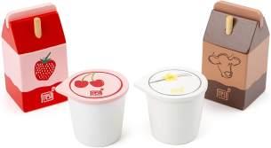 Small Foot 11440 Milchprodukte-Set Fresh, aus Holz, Rollenspielzeug, Zubehör Kaufladen und Kinderküche Spielzeug, Mehrfarbig