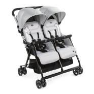 Chicco Zwilligsbuggy OHLALA' TWIN, ultra-leichtre und ultra-kompakter Geschwisterkinderbuggy für Babys und Kleinkinder ab Geburt inkl. Regenschutz, Silber