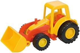 Lena 1231 Mini Compact Traktor mit Schaufel, Radlader ca. 12 cm, Trecker Schaufellader für Kinder ab 2 Jahre, Robustes Fahrzeug für Sandkasten, Strand und Kinderzimmer, Gelb und Rot