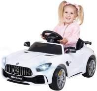 Actionbikes Motors Kinder Elektroauto Mercedes Amg GT-R - lizenziert – 2 x 25 Watt Motor – Ledersitz - Eva Reifen – Softstart - Kinderauto (Weiß)