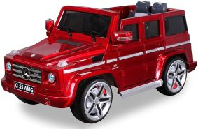 Kinder Elektro Auto MERCEDES G55 AMG Kinderauto Elektrofahrzeug Kinderfahrzeug (Rot-Metallic)