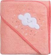 Clevamama Baby Kapuzen Handtuch - Badetuch Badeponcho als Schürze aus Baumwolle, Korallen