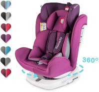 Lionelo Bastiaan Kindersitz Auto Kindersitz Isofix und Top Tether Kindersitz Drehbar um 360 Grad Autositz Gruppe 0 1 2 3 ab Geburt bis 36 kg TÜV SÜD ECE R 44 04 (Violett)