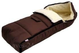 Babylux Fußsack Lammwolle 105 cm Braun