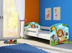 Clamaro 'Fantasia' Kinderbett 'Animals' 80 x 160 cm inkl. Rausfallschutz, Matratze und Lattenrost