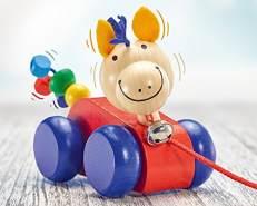 Selecta 62025 Lilli, Nachzieh Pferd, Schiebe-und Nachziehspielzeug aus Holz, 12 cm