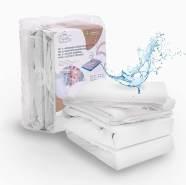 ALCUBE 4er Set aus 2x wasserdichter Matratzenauflage und 2x Baumwoll-Spannbettlaken, weiß, 180x80 cm