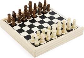 Small Foot 11209 Schach to go, FSC 100%-Zertifiziert, hochwertige Ausführung aus Holz, Schachspiel in Holzbox mit 32 Schachfiguren, ideal zum Mitnehmen, Für Kinder ab 6 Jahren Spielzeug, Mehrfarbig