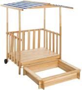 Tectake - Sandkasten und Spielveranda mit Dach blau