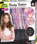 Lena 42433 42433-Fashion und Bastelset Body Tattoo, mit 4 glitzerfarbenen Stiften und 10 Schablonen für Körpertattoos und 24 Juwelen Sticker 3D für Körper, Mode Styling Set für Kinder ab 6 Jahre, bunt