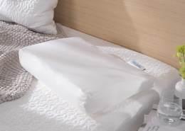 Theraline Pearlfusion orthopädisches Schlaf- & Nackenstützkissen, Standardbreite 50 cm   Höhe 10 cm   inkl. Außenbezug Dessin Nr. 20, weiß