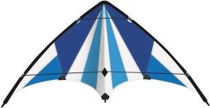 Paul Günther 1083 - Sportlenkdrachen Blue Loop 130, Drachen für Anfänger, Segel aus reißfestem Ripstop-Polyester, robuste Fiberglasstäbe, mit Lenkrollen und Schnur, ca. 130 x 69 cm groß