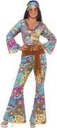 Smiffys, Damen Flower Power Hippie Kostüm, Oberteil, Hose, Haarband und Gürtel, Größe: M, 39493