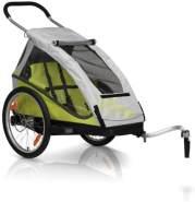 XLC Kinder 22 Zoll Mono² Inklusive Buggyrad Fahrradkinderanhänger, Limone