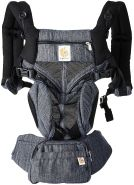 Ergobaby Babytrage für Neugeborene ab Geburt, 4in1 Omni 360 Cool Air Mesh Babytragetasche (Indigo Weave)