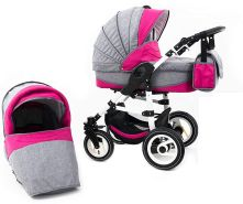 Tabbi ECO LN | 2 in 1 Kombi Kinderwagen | Hartgummireifen | Farbe: Pink