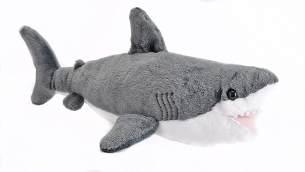 Wild Republic 22462 Plüsch Weißer Hai, Cuddlekins Kuscheltier, Plüschtier 20 cm, grau