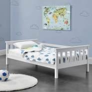 en.casa Kinderbett aus Kiefernholz mit Lattenrost und Rausfallschutz, 70x140 cm, weiß