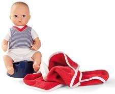 Götz 1354015 Aquini Junge Puppe - Navy - 33 cm Badepuppe mit gemalten braunen Augen, ohne Haare - 6-teiliges Set - Babypuppe für Kinder ab 18 Monaten