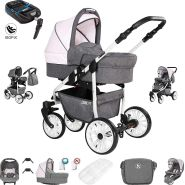 Friedrich Hugo Berlin | 4 in 1 Kombi Kinderwagen + ISOFIX| Luftreifen | Farbe: Grey and Light Rose Day