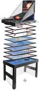 Tischkicker HWC-J16, Tischfußball Billard Hockey 20in1 Multiplayer Spieletisch, MDF 174x107x60cm ~ schwarz