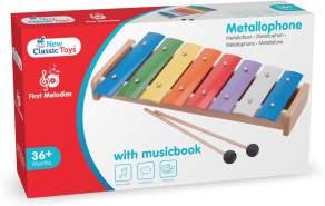 New Classic Toys - 10200 - Musikinstrument - Metallophon mit Musikbuch - 8 Töne