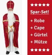 Foxxeo Nikolauskostüm für Herren Bischof Kostüm Nikolaus Umhang Weihnachtsmann Bischofsrobe Größe XL