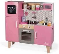 Janod J06571 Holzküche Macaron Maxi in rosa mit Funktionen und Zubehör